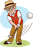 Großvater, 70 Jahre alt, spielt Golf