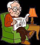 Großvater, 80 Jahre alt, liest die Zeitung