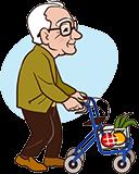 Großvater 90 Jahre mit Rollator