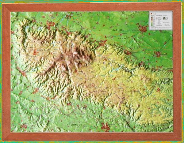 Reliefkarte Harz, Deutschland
