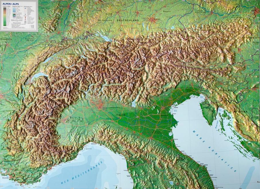DDie große alpine Reliefkarte