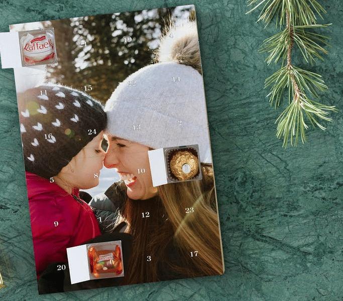 Adventskalender mit Foto und Schokolade - Geschenk für Opa