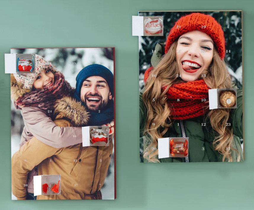 Adventskalender mit Foto und Schokolade