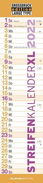 Großdruck Streifenkalender XL 2022 - Geschenk Senioren