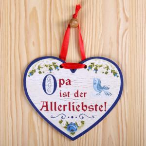 Holzherz Deko Opa zum Geburtstag