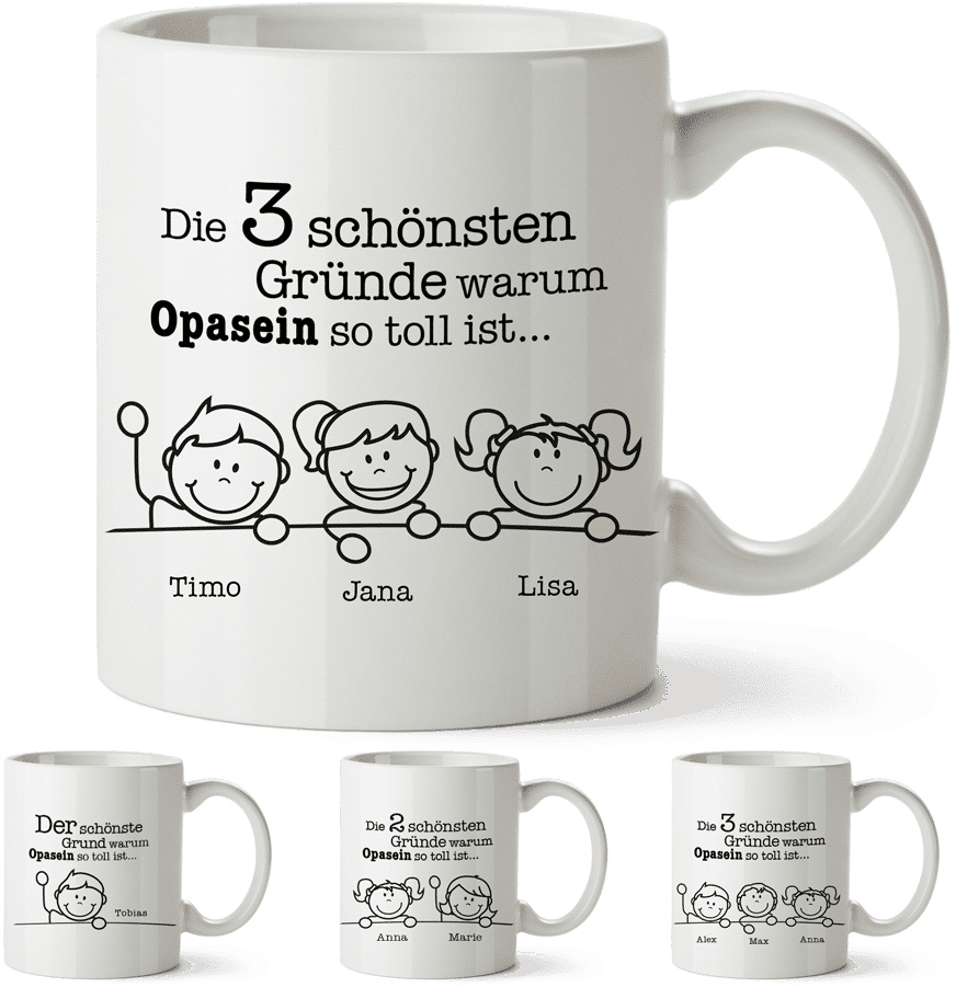 Tasse mit Namen Enkelkinder - Geschenk Opa