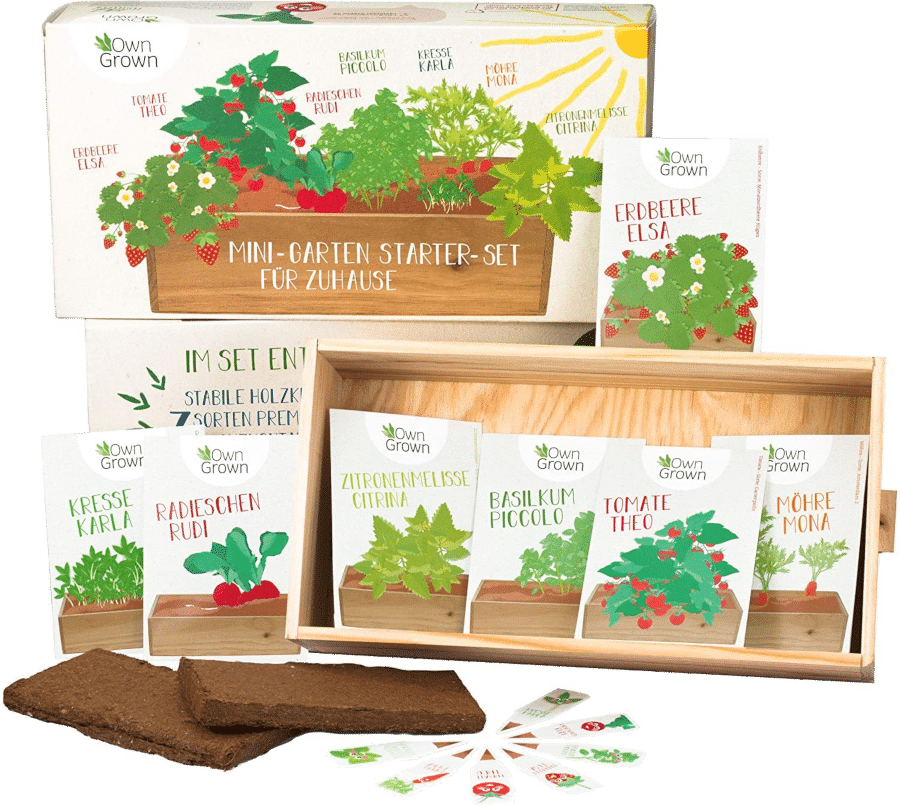 Gemüsegarten - Anzuchtset mit Holzkiste
